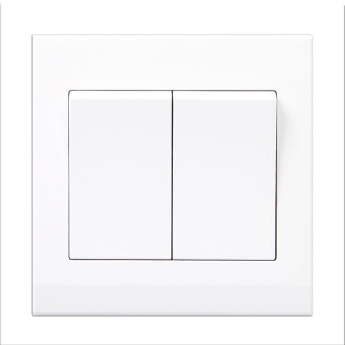Simplicity White Screwless Rocker Light Switch 2 Gang 1 Way Pulse/Retractive 07100